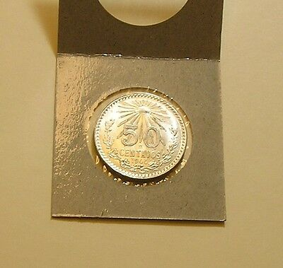 Mexico 1944 50 centavos coin, 72% SILVER, UNCIRCULATED!