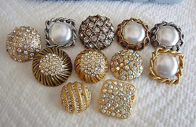Lot of 11 Vintage Rhinestone & Faux Pearl Buttons