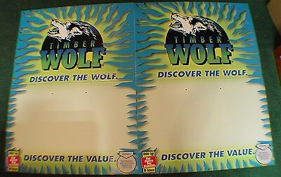 Timber Wolf Vertical Sign Set With Promotional Stickers Complete (New)