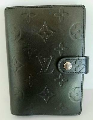 Auth Louis Vuitton Black Mat Leather Monogram Agenda PM Ring Binder