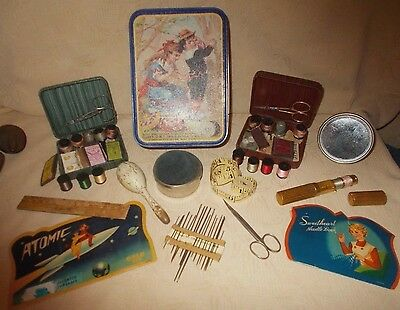 Antique & Vintage Sewing Lot~Needles~Notions~Travel Kits~Tools~Advertising Tin
