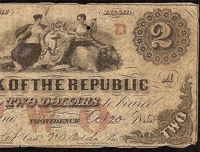 1855 $2 Two Dollar Bill Bank Of The Republic Rhode Island Note Obsolete Currency