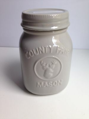 "Ceramic Mason Jar Style 8"" Tall Canister Light Grey BRAND NEW!"