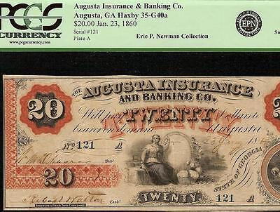 1860 $20 Dollar Bill Augusta Insurance Banking Note Large Obsolete Currency Pcgs