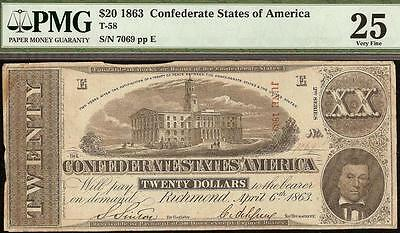 1863 $20 Dollar Bill Confederate States Currency Civil War Note Money T-58 Pmg