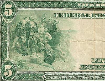 LARGE 1914 $5 DOLLAR BILL FEDERAL RESERVE NOTE BIG PAPER MONEY Fr 891a PMG 25