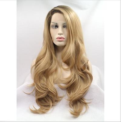 """24"""" Heat Resistant Lace Front Wig Synthetic Hair Side Part Black And Blonde"""