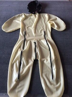 100%Latex Rubber White and Black Catsuit Hood Tights Suit Size XS-XXL