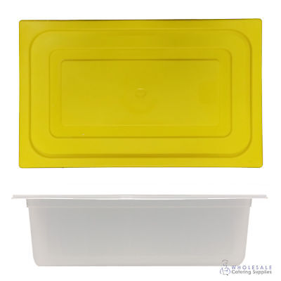 12x Food Pan with Yellow Lid 1/1 GN 200mm Full Size Polypropylene Gastronorm