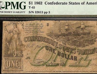 1862 $1 Dollar Bill Green One Overprint Note Confederate States Currency T45 Pmg