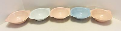 "5 Vintage Lu-Ray Pastels 6"" Lug Handled Bowls Soup Cereal Tayler Smith Taylor"