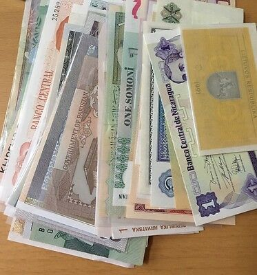 Mixed Lot of 42+ Pieces World Paper Money Banknotes - in 1s