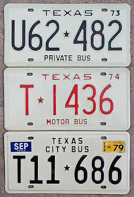 3 - 1970s Texas BUS license plates