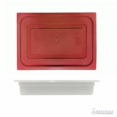 12x Food Pan with Red Lid 1/2 GN 65mm Half Size Polypropylene Gastronorm