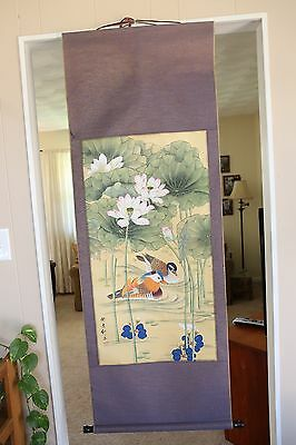 Asian Chinese Hand Painted Vintage Wall Scroll Lilly Pads Ducks