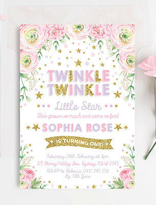 Twinkle Twinkle Little Star Invitation First 1st Birthday Party Invite Pink Gold