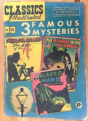 Classics Illustrated- #21 3 Famous Mysteries Holmes/Poe/Maupassant-April 1945