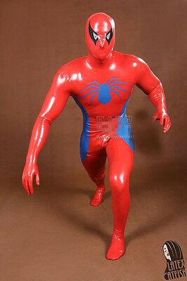 latex Rubber Catsuit Red Spider-man Tights Handsome Bodysuit Suit Size XS-XXL