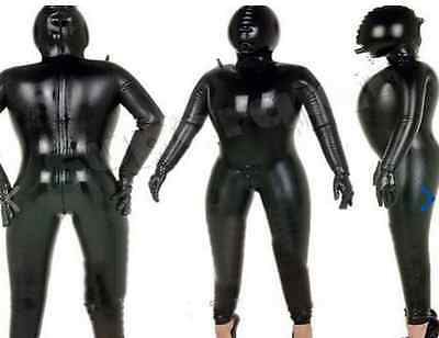 Latex Rubber Bodysuit Black Inflatable Tights Hood Fashion Suit Size XS-XXL