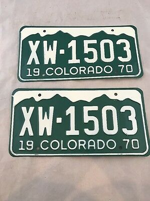 Vintage 1970 Colorado License Plate Tag Auto Car Rat Rod Man Cave Matching Pair