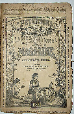 Ladies Magazine Peterson's With Original Large Visiting Mantle Pattern 1883 Rare