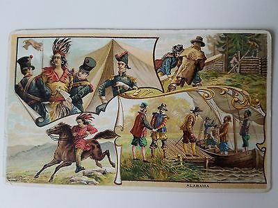 Rare Arbuckle Coffee Trade Card 1890's Antique Alabama Indians Weatherfords Leap