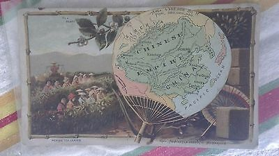 Rare Arbuckle Coffee Trade Card 1890's Antique MAP China Chinese Empire Tea Fan