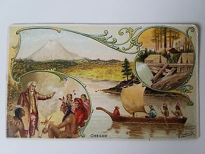 Rare Arbuckle Coffee Trade Card 1890's Oregon Lewis Clark River Camp Indians