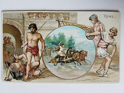 Rare Arbuckle Coffee Trade Card 1890s Rome Gladiator Chariot Wrestling Discus