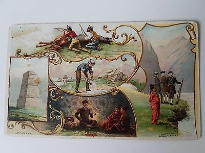 Rare Arbuckle Coffee Trade Card 1890's Montana Gold Mining Indians Custers Stand