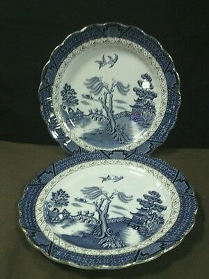 """(2)Lovely Antique Booths England""""Real Old Willow Blue""""Gold Trim Scalloped Plates"""