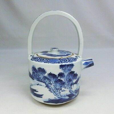 E161: Real old Japanese KO-IMARI blue-and-white porcelain kettle for SAKE CHOSHI