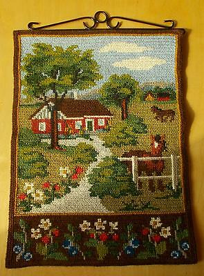 Swedish twist-stitch embroidered sampler, countryside scenery with red cottage