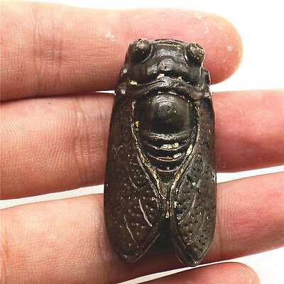 old chinese hongshan culture jade-carved exquisite cicada necklace pendant F575