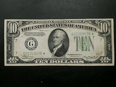 1934A $10 FRB of Chicago Green Seal *STAR* Note....Nice and crisp
