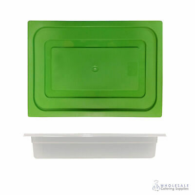 12x Food Pan with Green Lid 1/2 GN 65mm Half Size Polypropylene Gastronorm