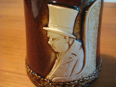 Vintage Ceramic Beer Stein With Charles Dickens Character   Majolica Style