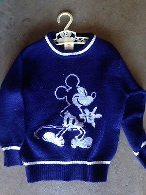 Vintage Mickey Mouse Disney Blue Sweater Kids 7 1970s Or 1980s