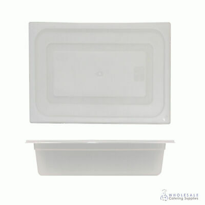 12x Food Pan with Clear Lid 1/2 GN 100mm Half Size Polypropylene Gastronorm