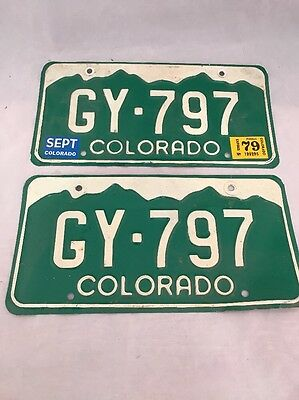 Vintage 1979 Colorado License Plate Tag Auto Car Rat Rod Man Cave Matching Pair
