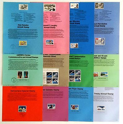 13 International Airmail USPS First Day Souvenir Pages: 1988 - 1991; C120, C126