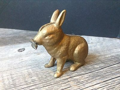 Vintage Cast Iron Bank Rabbit with Carrot Gold Tone A.C Williams?