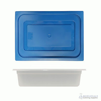 12x Food Pan with Blue Lid 1/2 GN 100mm Half Size Polypropylene Gastronorm