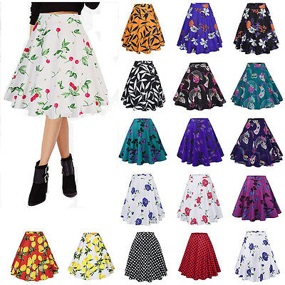 Vintage 50s Womens Retro Flared Swing Skirt Casual High Waist Party A-Line Dress