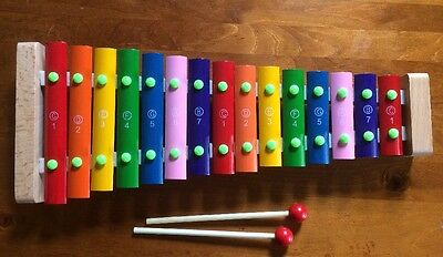 Wooden Xylophone With Steel Keys  With Numbers And Notes 42cm