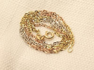 Estate 10K Yellow White & Rose Tri Color Gold Link Necklace