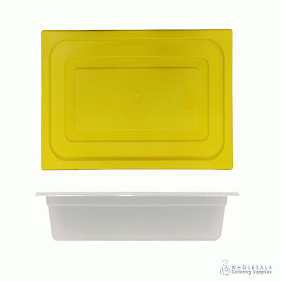 12x Food Pan with Yellow Lid 1/2 GN 100mm Half Size Polypropylene Gastronorm