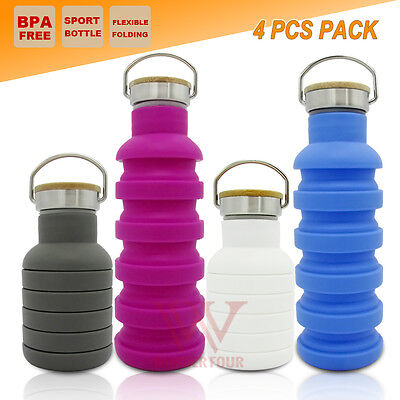 4x COLLAPSIBLE GYM OFFICE WATER BOTTLE CAMPING TRAINING SPORT SCHOOL CUP KETTLE