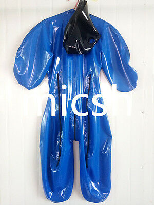 latex Rubber Fashion Catsuit Navy blue Hood Full-body Suit Tailored Size XS-XXL