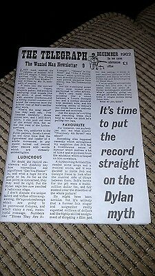 "Bob Dylan ""The Telegraph""  the Wanted Man Newsletter Issue 9 December  1982"